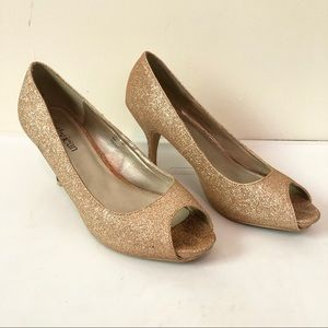 Gold Glitter Peep Toe Heels by Cathy Jean